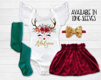 personalized christmas outfit girls christmas dress baby girl christmas outfit infant christmas dress toddler reindeer christmas dress