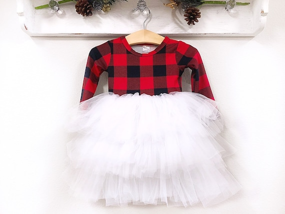 Toddler Christmas Outfit.Pre Order Buffalo Plaid Christmas Dress Fluffy Twirl Dress Personalized Girl Christmas Outfit Red Black Plaid Toddler Dress Sizes Nb 10