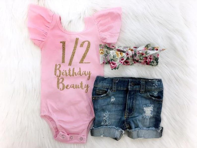 588b7864c9e7 Half Birthday Outfit Pink and Gold Half Birthday Distressed