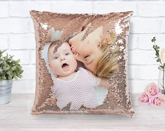 Sequin Pillow with Photo Personalized Photo Reversible Sequin Pillow Gift for Her Gift for Mom Custom Pillow Photo Home Decor 16x16 Pillow