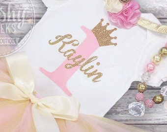 Pink and Gold 1st Birthday Shirt, Princess Birthday, Personalized Sparkle Shirt, 1st-6th Birthdays, Bodysuit or Shirt, Short or Long Sleevs