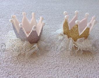 Princess Crown Hair Clip, Gold Princess Crown, Silver Princess Crown, Newborn Crown, Glitter Sparkle Birthday Princess,Hair Clip or Headband