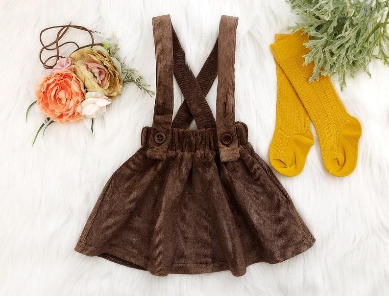324c8768b Girl Fall Brown Corduroy High Waisted Suspender Romper Skirt