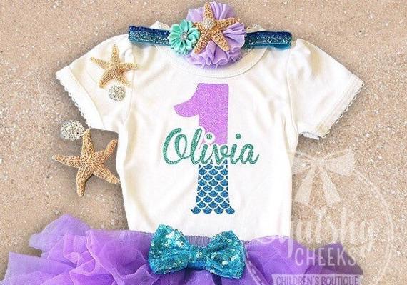 Mermaid Birthday Shirt Girl 1st 2nd