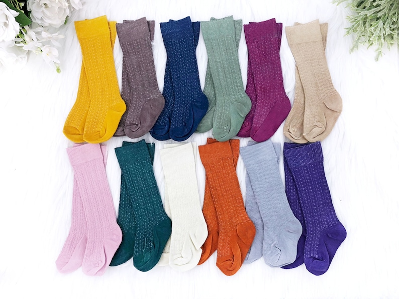 b0b661dcb67 Fall Baby Knee High Socks Girl Boy Hand Dyed Cable Knit Socks