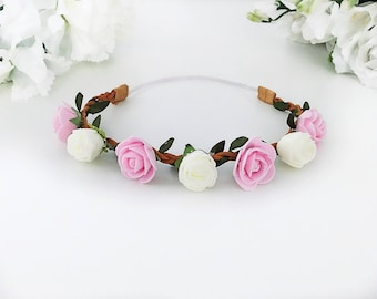 Pink and Ivory Baby Floral Crown Baby Headband Floral Baby Headband Crown Headband Leaf Baby Headband Newborn Photo Prop Baby Shower Gift