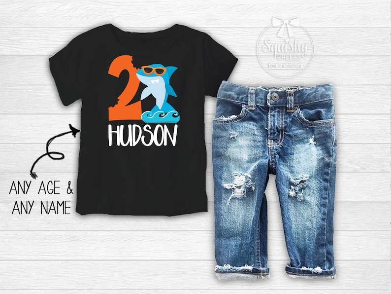 Boys Shark Birthday Shirt Baby 1st Outfit