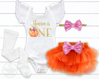 Girl's Pumpkin First Birthday Outfit Pumpkin 1st Birthday Party Pumpkin Patch Outfit Fall Birthday Outfit Boho Pumpkin Patch Outfit