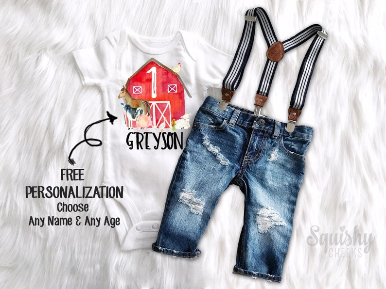 2e65e428ad83 Farm Animal Birthday Outfit Boys Farmer Birthday Shirt Baby