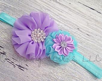 Aqua and Lavender Headband, Girl Accessories, Sparkly Headband, Large Baby Headband, Elegant Headband, Birthday Girl Headband