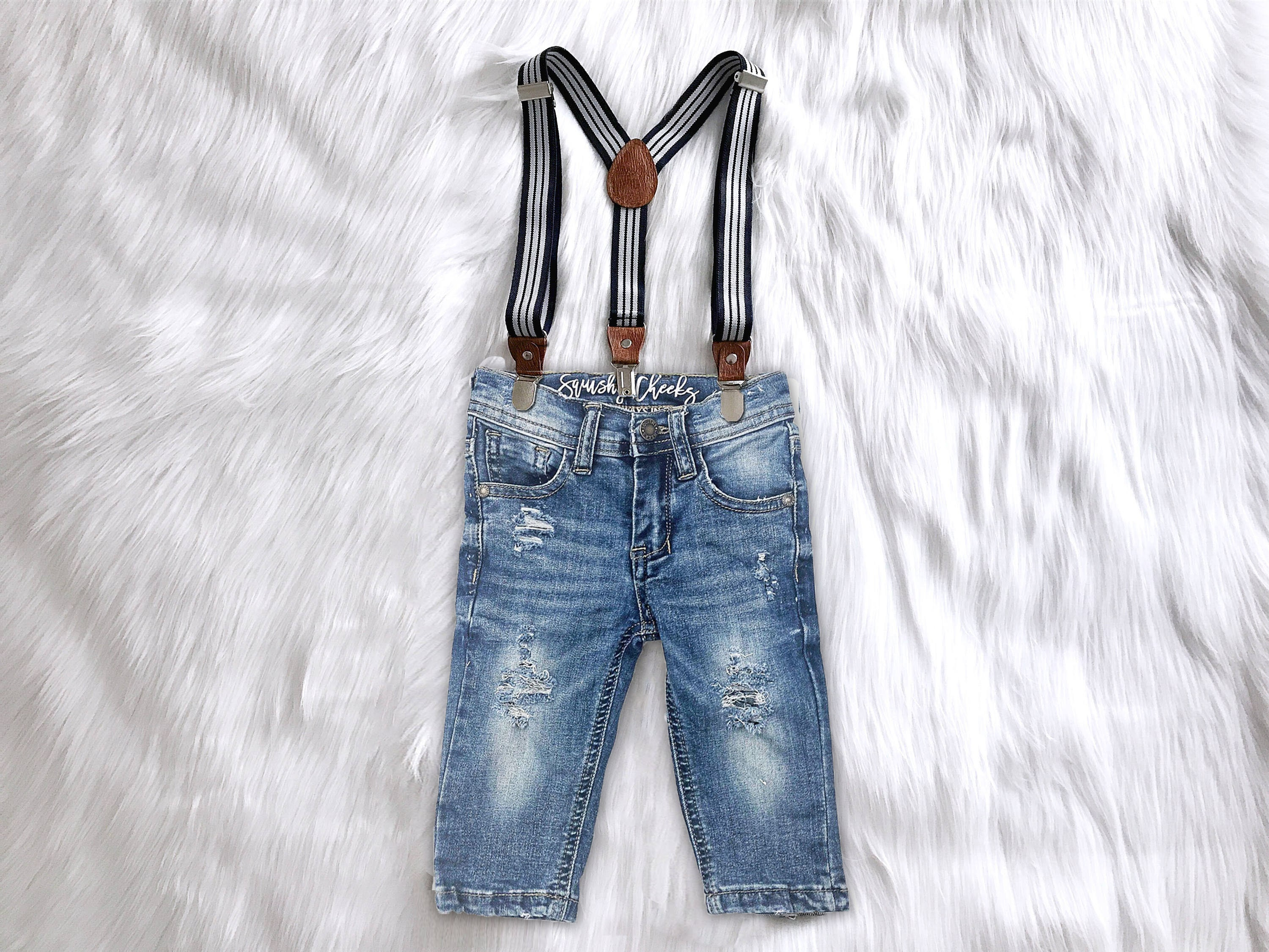 Vintage Overalls & Jumpsuits Boys Distressed Denim Suspender Pants Or Shorts First Birthday Outfit Boy Smash Cake Newborn Photo Overalls $53.00 AT vintagedancer.com