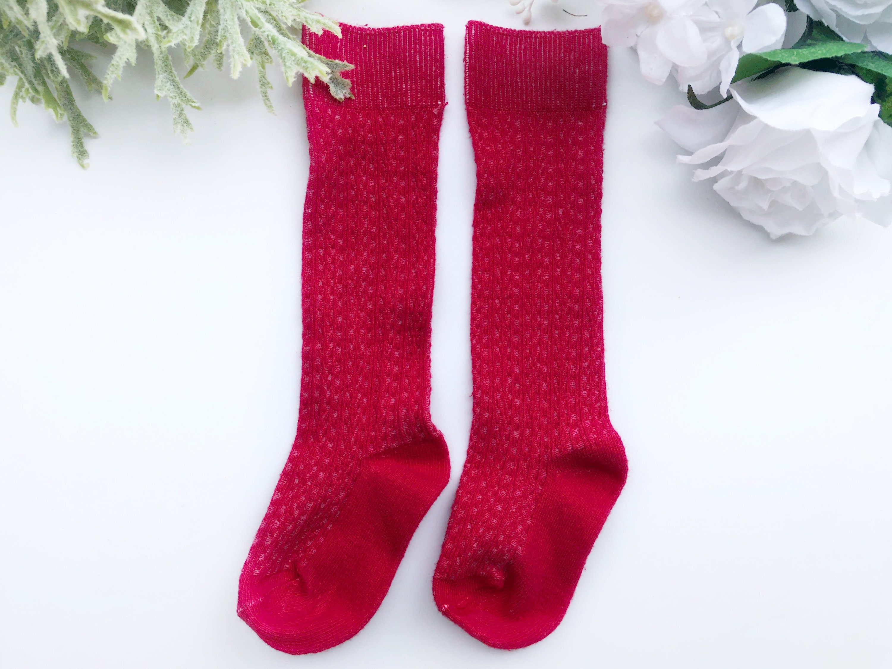 c40506d8b Red Kids Knee High Socks Cable Knit Hand Dyed Socks Baby Girls
