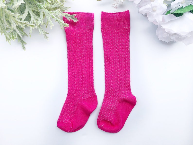 a9244ea07 Hot Pink Girls Knee High Socks Cable Knit Hand Dyed Socks Baby