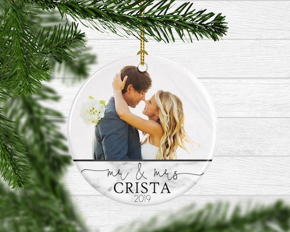 First Christmas Married Ornament Wedding Photo Personalized