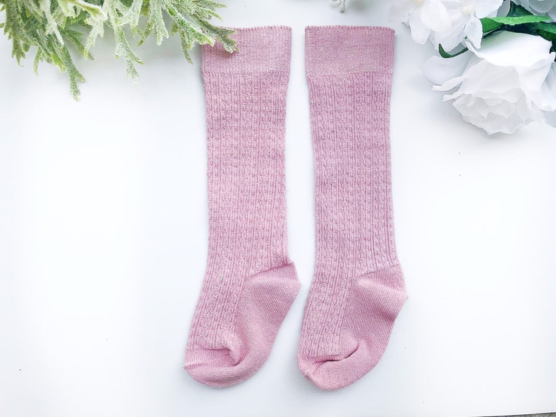 19a964434ba Light Pink Girls Knee High Socks Cable Knit Hand Dyed Socks