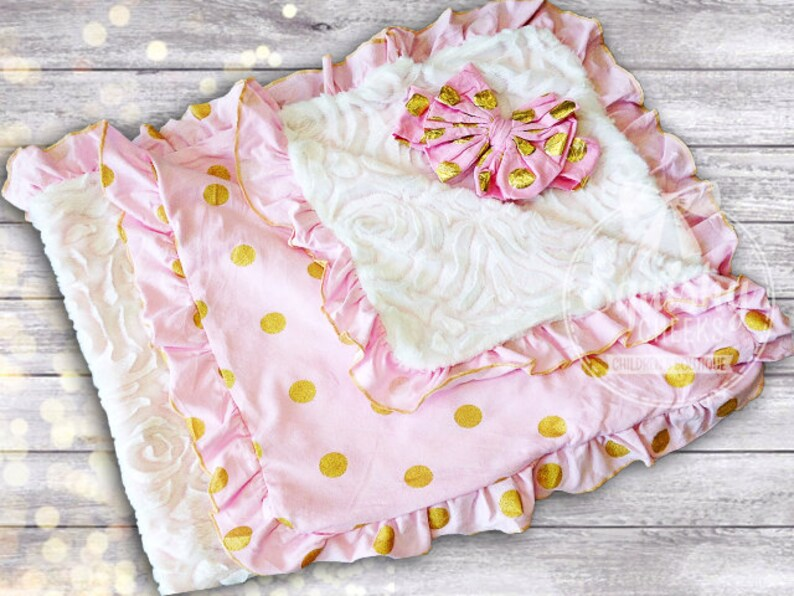 743768676 Baby Shower Gift Personalized Baby Blanket Pink and Gold