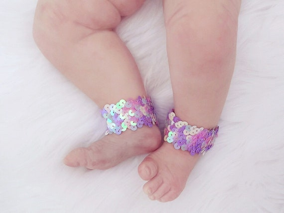 Girl Mermaid Accessory Anklets Shoes Baby Birl Birthday Girl Summer Accessories Baby Barefoot Mermaid Anklets Barefoot Sandals Piggy Petals