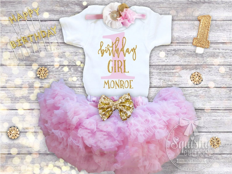 First Birthday Outfit Girl 1st Shirt Pink And