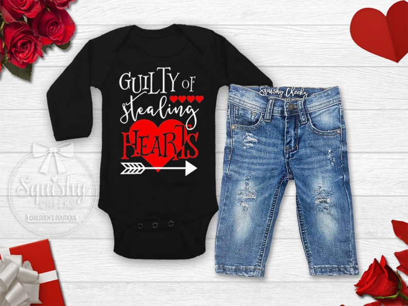 d20bd55f1ea14 Baby Boy Valentines Outfit Boy's Valentine's Day Shirt Guilty of Stealing  Hearts Shirt Toddler Boy Valentine Shirt Boy Valentine Bodysuit