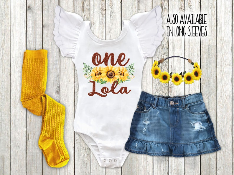 4ac641c5e5e1 Sunflower Birthday Outfit Personalized Baby Girl Fall 1st