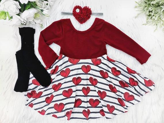 92655e44ab4b Valentines Day Dress Heart Twirl Dress Personalized Girl | Etsy