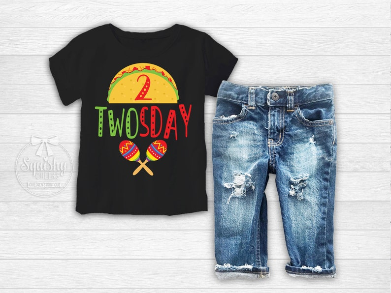 Boys Taco Twoday Birthday Shirt 2nd