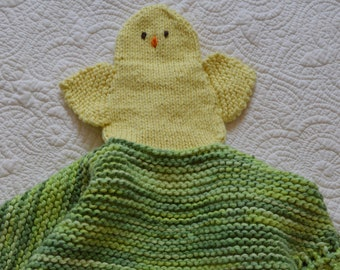 PDF Knitting Pattern Baby Chick Security blanket lovey puppet blankie         kp3618