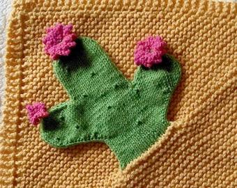 PDF Knitting Pattern Cactus Security blanket lovey puppet blankie         kp3518