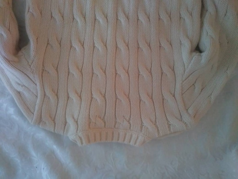 Vintage Authentic POLO Sweater for Baby~ 9 Month~ Cream Off-White Cable Crewneck Sweater~ FREE SHIP