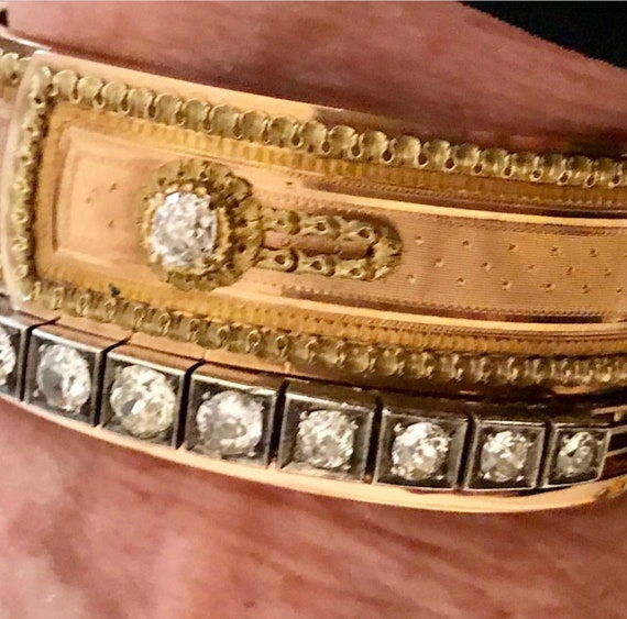 French antique button cuff 18kt bracelet