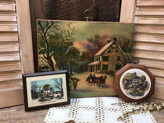 9ba339c18f8e Vintage Currier and Ives Wall Plaques American Homestead