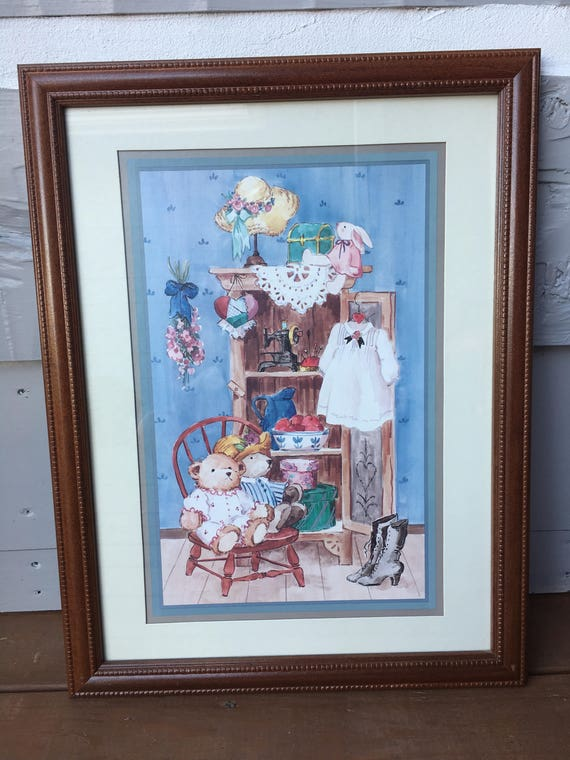 Vintage Home Interiors Gifts Picture Country Cupboard Framed