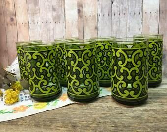 Vintage Set Drinking Glasses/Set of Seven/Green/Black/Retro/Mod