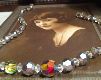Vintage Clear (Rainbow) Aurora Borealis Crystal Choker Necklace