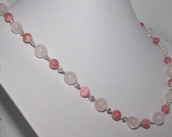 Handmade Rose Quartz, Rhodochrosite and 935 sterling silver necklace