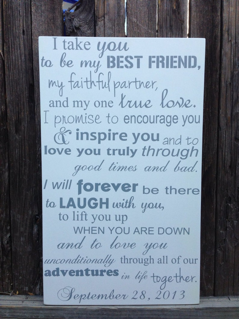 Best Wedding Vows.Today I Marry My Best Friend Sign Wedding Vows Sign 3rd Anniversary Gift I Take You To Be My Best Friend Wood Sign Third Anniversary