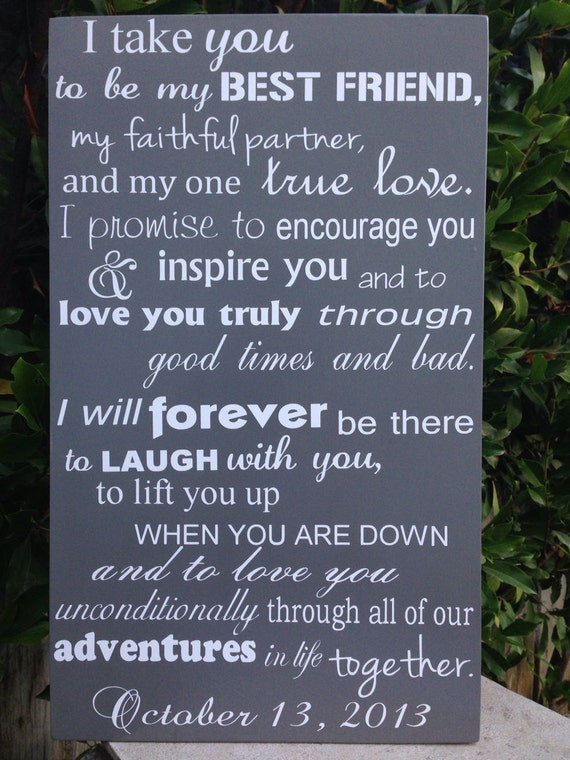 Modern 6th Anniversary Gift Wedding Vows Wood Sign 12 X Etsy