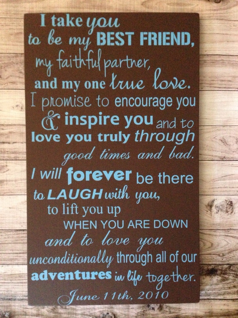 6d4ab0505b6 Fifth Anniversary Gift Wedding Vows Sign 5th Anniversary Gift