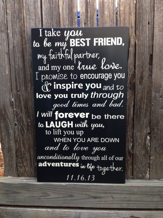 Wedding Anniversary Gift For Him Wedding Vows Sign Etsy