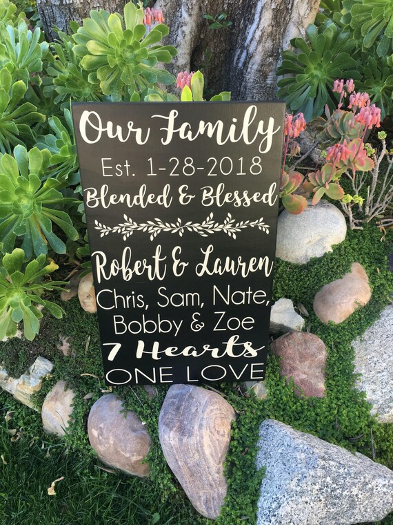 Second Wedding Gift, 2nd Marriage Gifts, Blended Family Wedding Gifts,  Blended and Blessed PERSONALIZED Family Established Sign, Wood Sign