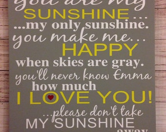 You Are My Sunshine My Only Sunshine Yellow and Gray Nursery Wood Sign Baby Shower Gift You Make Me Happy Baby Wall Art Nursery Wall Decor