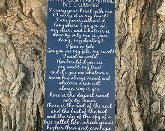 5th Anniversary Gift for Her. I Carry Your Heart Sign. Custom Poem on Wood Sign. Poetry Art. Fifth Anniversary Gifts for the Couple Poem.