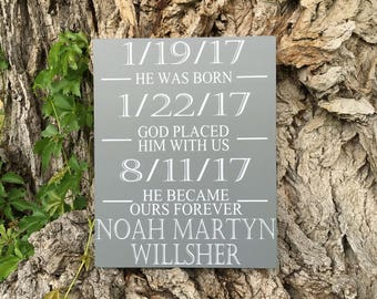 Gotcha Day Gifts, Adoption Gifts for Parents, PERSONALIZED Adoption Day Sign with Important Dates, Forever Ours, Blended Family Wood Sign
