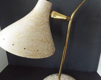 mid century modern  metal cone shade desk table  lamp gold swirl cone adjustible task light