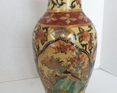 Large 12 quot Chinese porcelain satsuma moriage vase peacocks gold blue accents chinoiserie Qian long Oriental Accent Shou Chinoiserie