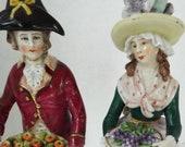 Pair Antique 18th c. Ludwigsburg porcelain figurines fruit sellers German Sitzendorf Dresden Niderviller