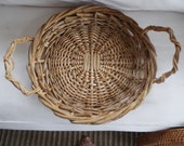 large round French hand woven wicker twig serving tray basket handles