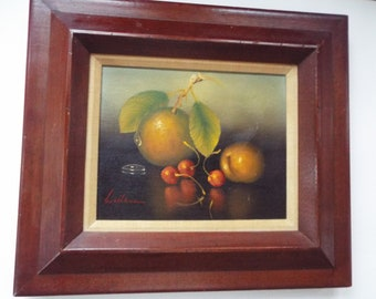 original still life painting  signed Wallace in red  oil on canvas fruit