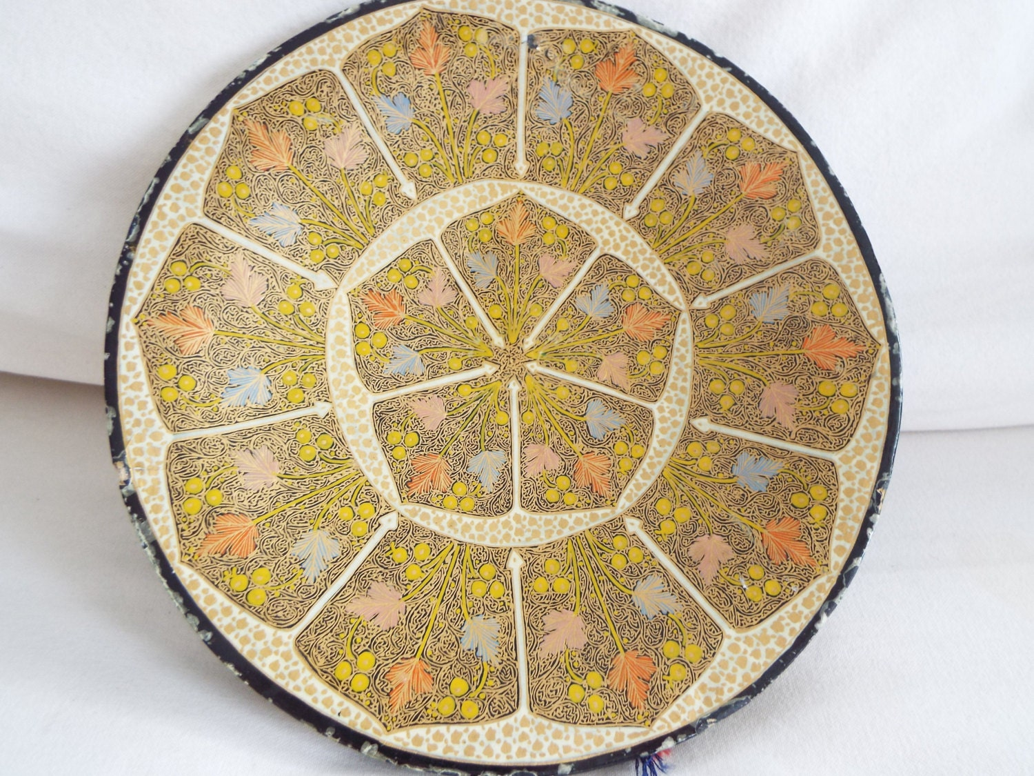 Papermache Kashmir lacquered hanging wall plate charger