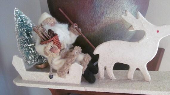 1940s white German mica glitter wood reindeer and sleigh ,vintage santa, bottle brush tree